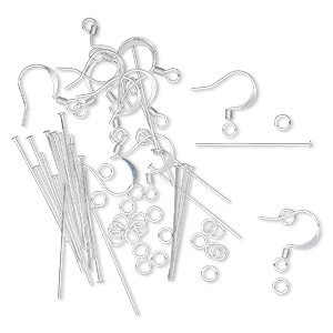 earring finding set, silver-plated brass, (12) 16mm 22-gauge fishhook earwires, (24) 1-inch 22-gauge headpins, (24) 4mm round 22-gauge jumprings. sold per set.