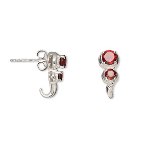 earring, garnet (natural) and sterling silver, 14mm with 4mm and 3mm faceted round with post. sold per pair.