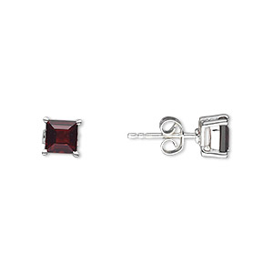 earring, garnet (natural) and sterling silver, 6mm with 5x5mm faceted square and post. sold per pair.