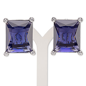 earring, glass / glass rhinestone / rhodium-plated brass, purple and clear, 25x20mm rectangle with post and latch-back closure. sold per pair.