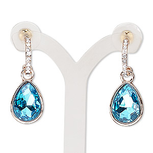 earring, glass / glass rhinestone / stainless steel / rose gold-finished pewter (zinc-based alloy), light blue and clear, 32mm with teardrop and post. sold per pair.