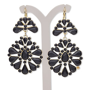 earring, glass rhinestone / gold-finished brass / steel / pewter (zinc-based alloy), matte black, 2-1/2 inches with leverback earwire. sold per pair.
