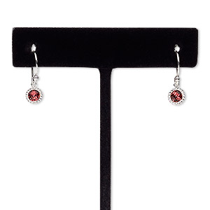 earring, glass rhinestone and sterling silver, dark pink, 17mm with round and fishhook earwire. sold per pair.