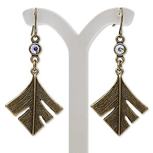 earring, glass rhinestone with antique brass-finished brass and pewter (zinc-based alloy), clear ab, 2 inches with diamond feather and fishhook earwire. sold per pair.