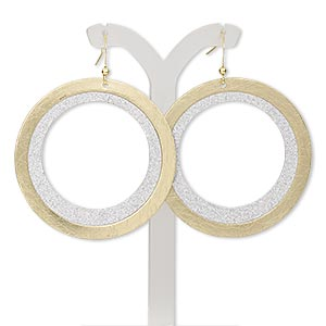 earring, gold-finished / imitation rhodium-plated steel / brass, 2-1/2 inches with brushed and stardust open round with fishhook earwire. sold per pair.