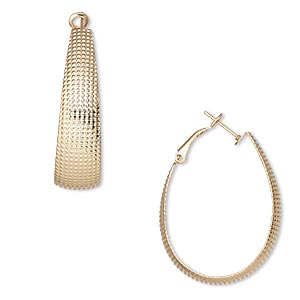 earring, gold-finished brass, 46mm oval hoop with latch-back closure. sold per pair.