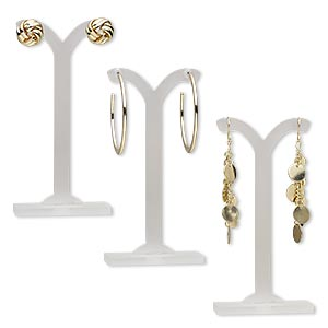 earring, gold-finished brass and steel, 1/2 inch round knot / 1-3/4 inch round hoop / 2-1/2 inches with dangle. sold per pkg of 3 pairs.