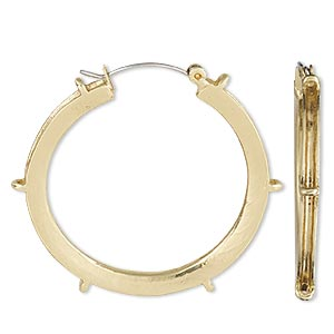 earring, gold-plated brass, 40mm round hoop with 2mm channel and 6 closed loops with latch-back closure. sold per pair.