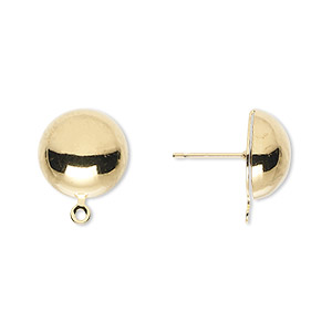 earring, gold-plated steel and stainless steel, 12mm half ball with closed loop. sold per pkg of 50 pairs.