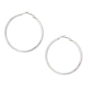 earring, imitation rhodium-finished pewter (zinc-based alloy), 60mm brushed wavy round hoop. sold per pair.