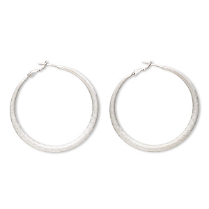 earring, imitation rhodium-plated brass and pewter (zinc-based alloy), 2-inch round hoop with etched scalloped design and latch-back closure. sold per pair.