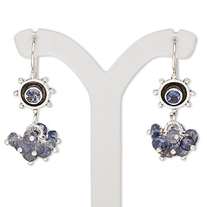 earring, iolite (natural) and sterling silver, 32mm with fishhook earwire. sold per pair.