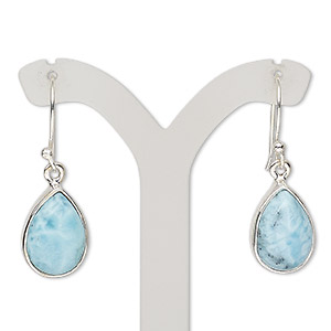earring, larimar (natural) and sterling silver, 32mm with teardrop and fishhook earwire, 21 gauge. sold per pair.
