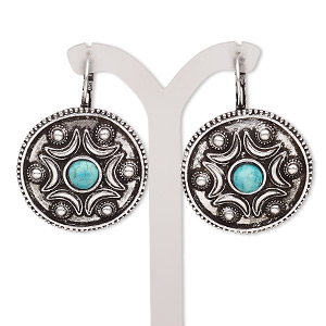 earring, magnesite (dyed / stabilized) with antique silver-plated brass and pewter (zinc-based alloy), blue, 46mm with round and leverback earwire. sold per pair.