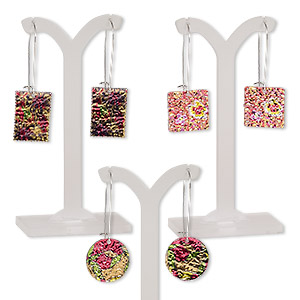 earring mix, color film with imitation rhodium-plated steel and pewter (zinc-based alloy), multicolored, 2 to 2-1/2 inches with round / rectangle / square and kidney earwire. sold per pkg of 3 pairs.