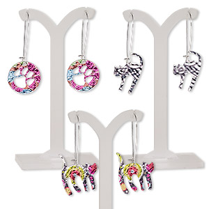 earring mix, color film with imitation rhodium-plated steel and pewter (zinc-based alloy), multicolored, 2-1/4 inches with cat and round with paw cutout and kidney earwire. sold per pkg of 3 pairs.