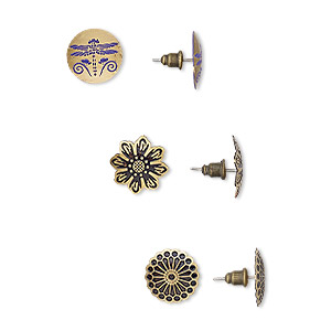 earring mix, enamel with antique brass-plated brass and steel, mixed colors, 15mm round and flower with dragonfly and flower design with post. sold per pkg of 3 pairs.