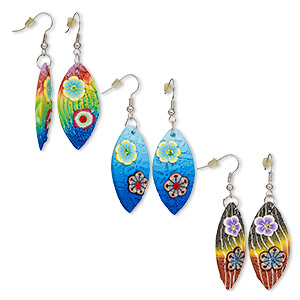 598b31151 Earring mix, polymer clay / glass rhinestone / silver-plated steel,  multicolored, 58mm with marquise and flower design with fishhook ear wire.