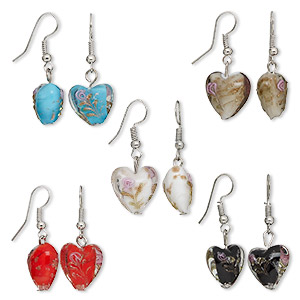 earring mix, silver color brass and lampworked glass, multicolored, 15x15mm hearts. sold per pkg of 5 pairs.