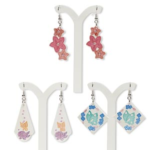 earring mix, silver-finished steel / glass / porcelain, multicolored, 20x20mm-50x25mm multi-shape with fishook earwire. sold per pkg of 3 pairs.
