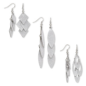 earring mix, stainless steel / silver-plated brass / steel / stainless steel, 2-1/4 to 3-1/2 inch stardust mixed shape with fishhook earwire. sold per pkg of 3 pairs.