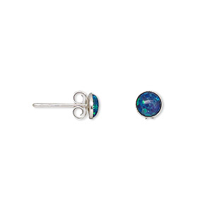earring, opal (imitation) and sterling silver, turquoise blue, 5mm round with post. sold per pair.
