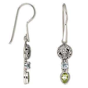 earring, peridot (natural) / sky blue topaz (irradiated) / antiqued sterling silver, 43-46mm with 4mm faceted round and 5x3mm faceted pear with fishhook earwire. sold per pair.