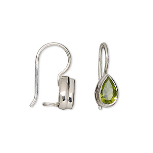 earring, peridot (natural) and sterling silver, 17mm with 9x6mm faceted pear and fishhook earwire with safety. sold per pair.
