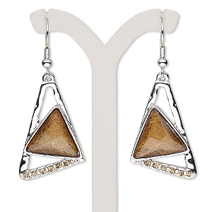 earring, resin / glass rhinestone / imitation rhodium-plated brass / pewter (zinc-based alloy), brown and light brown, 2 inches with triangle and fishhook earwire. sold per pair.