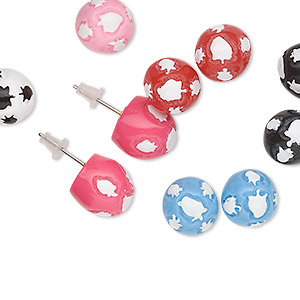 earring, resin and steel, assorted colors, 14mm round with leaf design and post. sold per pkg of 12 pairs.