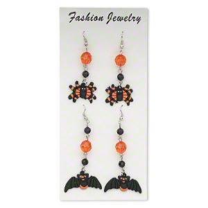 earring, rubber / acrylic / silver-finished steel, black and orange, 3 inches with bat and spider designs with fishhook earwire. sold per pkg of 2 pairs.