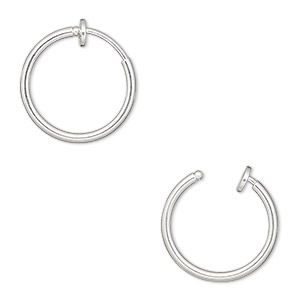 Earring Silver Plated Br 17mm Round Hoop With Pierced Look Spring Closure Sold Per Pair