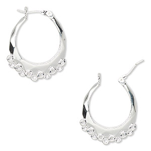 earring, silver-plated brass, 18mm round hoop with 17 closed loops and latch-back closure. sold per pair.