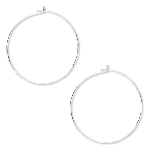 earring, silver-plated brass, 25mm round hoop. sold per pkg of 250 pairs.