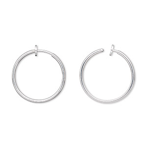 earring, silver-plated brass, 25mm round hoop with pierced-look spring closure. sold per pair.