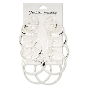earring, silver-plated steel, 24-51mm round hoop with hinged closure. sold per pkg of 6 pairs.