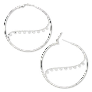 earring, silver-plated steel, 50mm round hoop with 9 closed loops and hinged closure. sold per pkg of 5 pairs.