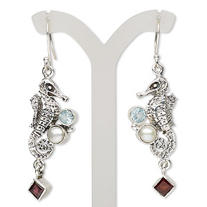 earring, sky blue topaz / garnet (irradiated) / cultured freshwater pearl (bleached) / antiqued sterling silver, 2-1/4 inches with seahorse and fishhook earwire, 21 gauge. sold per pair.