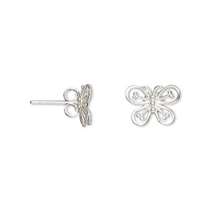 earring, sterling silver, 11x8.5mm openwork butterfly with earstud, earnuts included. sold per pair.