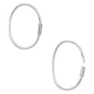 earring, sterling silver, 20x14mm-23x16mm oval wire hoop. sold per pair.