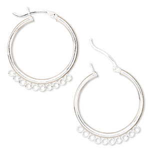earring, sterling silver, 25mm round hoop with 10 closed loops and latch-back closure. sold per pair.