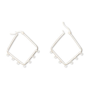 earring, sterling silver, 32mm diamond hoop with 7 closed loops and latch-back closure. sold per pair.