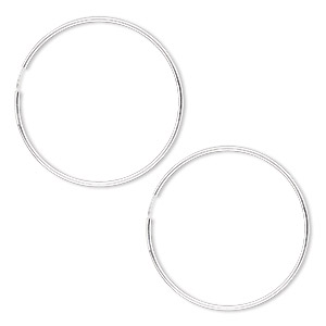 earring, sterling silver, 65-70mm round hoop with endless-loop closure. sold per pair.