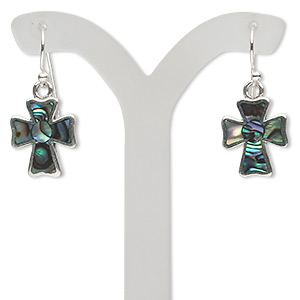 earring, sterling silver and abalone, blue and green, 29x12mm cross with fishhook earwires. sold per pair.