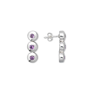 earring, sterling silver and amethyst (natural), 3mm faceted round, 23x7mm. sold per pair.