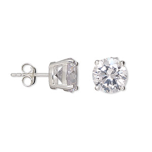 earring, sterling silver and cubic zirconia, clear, 10mm faceted round with post. sold per pair.
