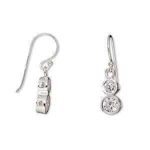earring, sterling silver and cubic zirconia, clear, 23mm with 4mm and 5mm faceted round with fishhook earwire. sold per pair.