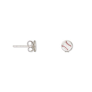 earring, sterling silver and enamel, white and red, 5mm baseball with post. sold per pair.
