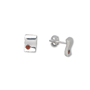 earring, sterling silver and garnet (natural), 2mm faceted round, 9x6mm wavy rectangle. sold per pair.