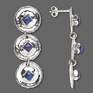 earring, sterling silver and lapis lazuli (natural), 45mm 3 disc dangle with 4mm square and post. sold per pair.